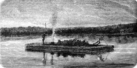 raft: Bamboo raft, vintage engraved illustration. Le Tour du Monde, Travel Journal, (1872).