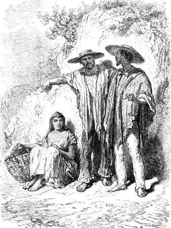 medellin: Peasants in the valley of Medellin, vintage engraved illustration. Le Tour du Monde, Travel Journal, (1872).