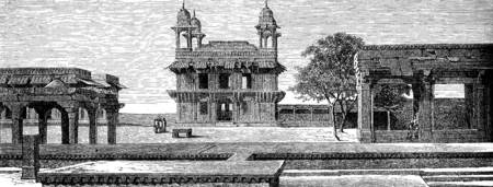 fatehpur sikri: Diwan-i-Khas and court Pachisi to Fatehpur Sikri, vintage engraved illustration. Le Tour du Monde, Travel Journal, (1872).