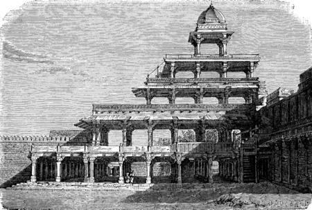 multistorey: The Panch Mahal in Fatehpur Sikri, vintage engraved illustration. Le Tour du Monde, Travel Journal, (1872).