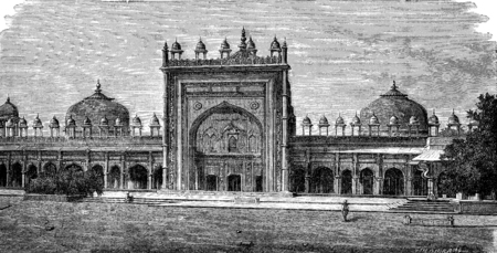 Mosque of Dargah at Fatehpur Sikri, vintage engraved illustration. Le Tour du Monde, Travel Journal, (1872). illustration