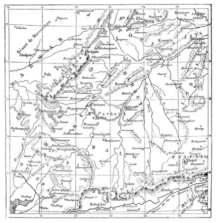 rajput: Map of Rajputs States (Western Rajasthan), vintage engraved illustration. Le Tour du Monde, Travel Journal, (1872). Stock Photo