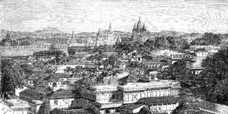 madhya pradesh: Overview of Duttiah, vintage engraved illustration, Le Tour du Monde, Travel Journal, (1872). Stock Photo