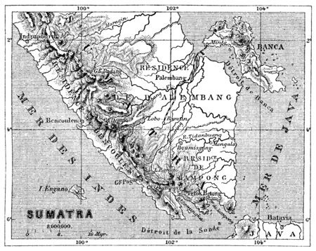 sumatra: Map of Sumatra, vintage engraved illustration. Le Tour du Monde, Travel Journal, (1872).