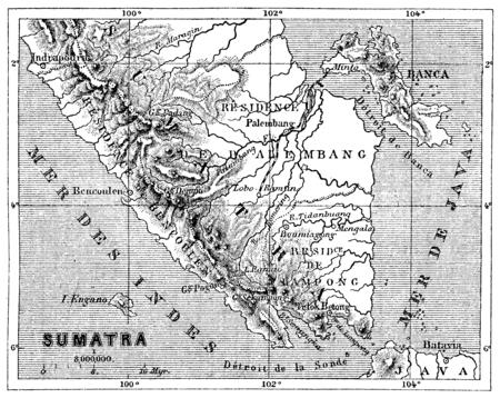 Map of Sumatra, vintage engraved illustration. Le Tour du Monde, Travel Journal, (1872).