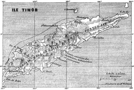 Map of Timor island, vintage engraved illustration. Le Tour du Monde, Travel Journal, (1872). 版權商用圖片