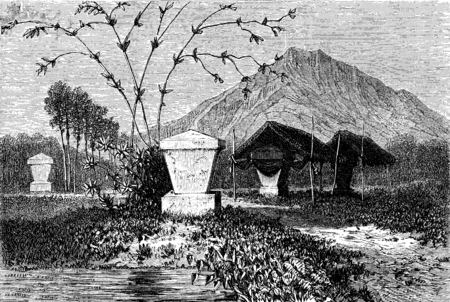 burial: Graves Minahasa (sulawesi), vintage engraved illustration. Le Tour du Monde, Travel Journal, (1872). Stock Photo