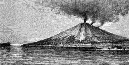 The volcano in Banda, vintage engraved illustration. Le Tour du Monde, Travel Journal, (1872).