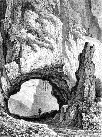 Natuurlijke brug in de bergen, vintage gegraveerde illustratie. Le Tour du Monde, Travel Journal, (1872).