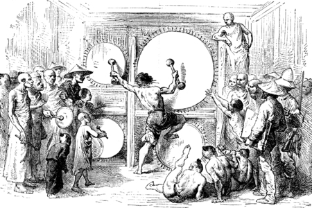 beating: Lao beating the gong, Muong Pang, vintage engraved illustration. Le Tour du Monde, Travel Journal, (1872).
