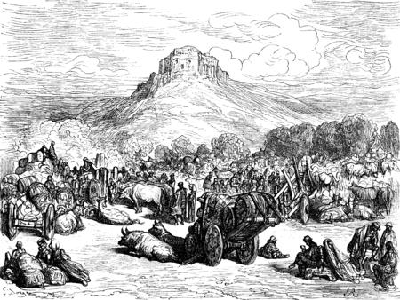 cristo: The hermitage del Cristo del Otero, press Palencia, vintage engraved illustration. Le Tour du Monde, Travel Journal, (1872).