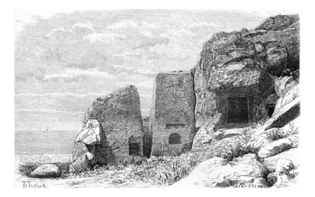 Phoenician Necropolis of Adloun in Tyre, Lebanon, vintage engraved illustration. Le Tour du Monde, Travel Journal, 1881 Stock fotó