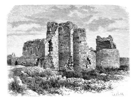 타이어, 레바논, 십자군 성당 유적 빈티지 새겨진 된 그림. 르 투르 뒤 몽드, 여행 저널, 1881