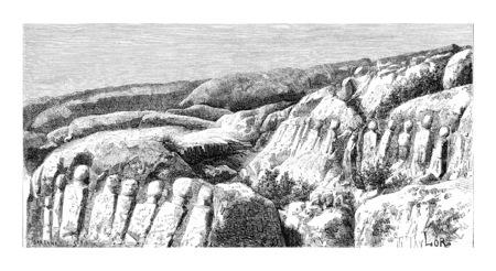 타이어, 레바논, 빈티지 새겨진 그림 근처 Hanaoueh의 조각 된 바위입니다. 르 투어 뒤 몽드, 트래블 저널, 1881 스톡 콘텐츠