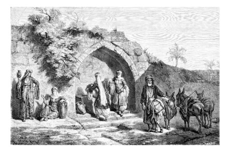 tourist spot: Mary?s Well in Nazareth in Israel, vintage engraved illustration. Le Tour du Monde, Travel Journal, 1881