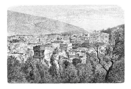 palestinian: City of Nablus in West Bank, Israel, vintage engraved illustration. Le Tour du Monde, Travel Journal, 1881
