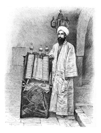 High Priest in Amran, Yemen, vintage engraved illustration. Le Tour du Monde, Travel Journal, 1881 Banco de Imagens
