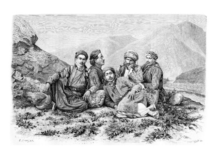 drivers: Camel Drivers Resting, vintage engraved illustration. Le Tour du Monde, Travel Journal, 1881 Stock Photo