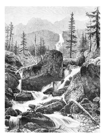 tatras: The Iron Gates of the Danube River in Banat, Romania, drawing by G. Vuillier from a photograph, vintage engraved illustration. Le Tour du Monde, Travel Journal, 1881