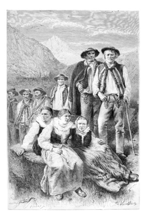 tatras: Podhales of the Tatra Mountains, Poland, drawing by G. Vuillier from a photograph, vintage engraved illustration. Le Tour du Monde, Travel Journal, 1881 Stock Photo