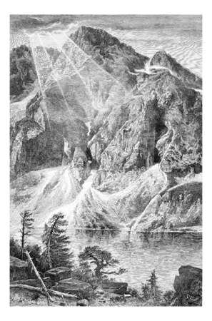 tatras: Gorka Wieruszowska and the Fish Lake in Lodz, Poland, drawing by G. Vuillier, from a photograph by Dr. Gustave le Bon, vintage engraved illustration. Le Tour du Monde, Travel Journal, 1881 Stock Photo