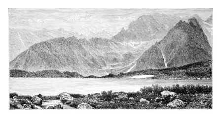 tatras: Cieszki Staw or Heavy Lake in Bohemia, Czech Republic, drawing by G. Vuillier, from a photograph, vintage engraved illustration. Le Tour du Monde, Travel Journal, 1881 Stock Photo