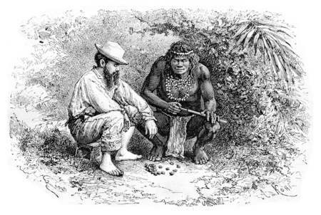 dr: Making a Necklace in Oiapoque, Brazil, drawing by Riou from a sketch by Dr. Crevaux, vintage engraved illustration. Le Tour du Monde, Travel Journal, 1880
