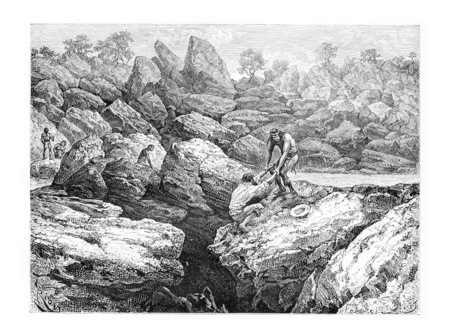 precipice: Rescued by a Native From the Edge of a Precipice in Oiapoque, Brazil, drawing by Riou from a sketch by Dr. Crevaux, vintage engraved illustration. Le Tour du Monde, Travel Journal, 1880