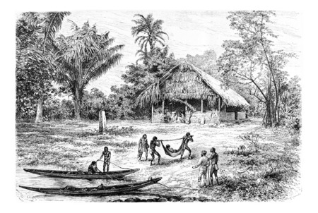 transporting: Natives Transporting a Wounded Olori Using a Stretcher in Oiapoque, Brazil, drawing by Riou from a photograph, vintage engraved illustration. Le Tour du Monde, Travel Journal, 1880