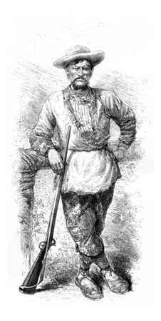 amazonas: Santa Cruz Holding a Rifle in Amazonas, Brazil, drawing by Riou from a sketch by Dr. Crevaux, vintage engraved illustration. Le Tour du Monde, Travel Journal, 1881