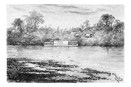 amazonas: The Steam Ship Canuman Along the Ica River in Amazonas, Brazil, drawing by Riou from a photograph, vintage engraved illustration. Le Tour du Monde, Travel Journal, 1881 Stock Photo
