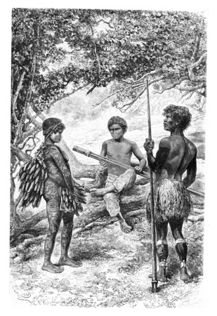 amazonas: Witoto Indians of Amazonas, Brazil, drawing by Riou from a photograph, vintage engraved illustration. Le Tour du Monde, Travel Journal, 1881