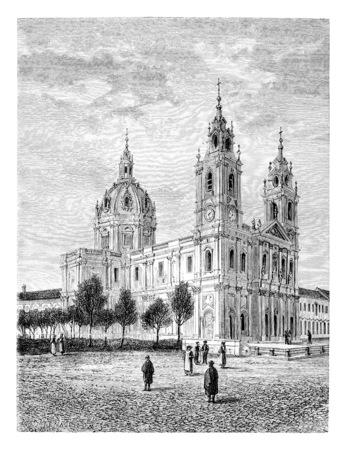 Basiliek van het Heilig Hart van Jezus van Estrela in Lissabon, Portugal, tekenen door Catenacci gebaseerd op een foto, vintage gegraveerde illustratie. Le Tour du Monde, Travel Journal, 1881