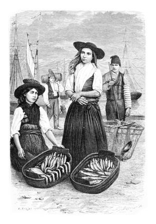 vendor: Women Fish Vendors in Lisbon, Portugal, drawing by Ronjat based on a photograph, vintage engraved illustration. Le Tour du Monde, Travel Journal, 1881