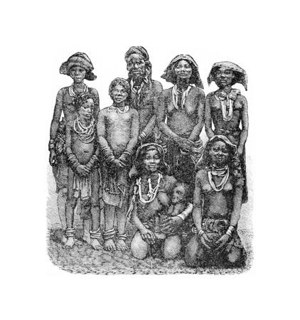 Mandombe Les femmes du Congo, l'Afrique centrale, la gravure sur la base de l'édition anglaise, illustration vintage. Le Tour du Monde, Voyage Journal 1881