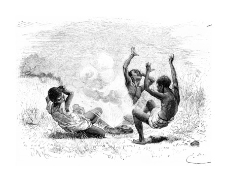 shrapnel: A Bullet Explodes on Three Natives in Angola, Southern Africa, drawing by Bayard based on a sketch by Serpa Pinto, vintage engraved illustration. Le Tour du Monde, Travel Journal, 1881