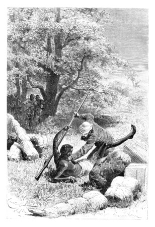 disarm: The Major Overpowers and Disarms Palanca, in Angola, Southern Africa, drawing by Bayard based on a sketch by Serpa Pinto, vintage engraved illustration. Le Tour du Monde, Travel Journal, 1881
