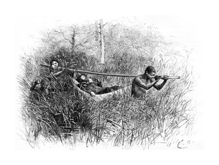 Dans le marais, en Angola, en Afrique australe, dessin de Bayard basée sur une esquisse de Serpa Pinto, illustration vintage gravé. Le Tour du Monde, Voyage Journal, 1881 Banque d'images