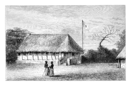 colonial house: Belmonte House in Angola in Southern Africa, engraving based on the English edition, vintage illustration. Le Tour du Monde, Travel Journal, 1881 Stock Photo