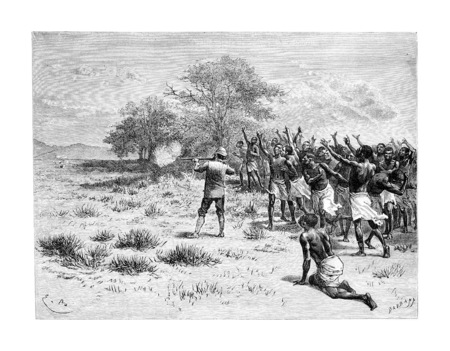 The Talisman Breaks in Angola, Southern Africa, drawing by Bayard based on writings, vintage engraved illustration. Le Tour du Monde, Travel Journal, 1881 Imagens