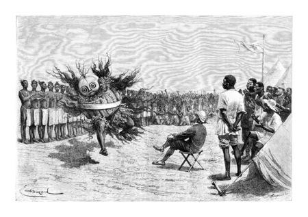 Mabandan Dancer du Burundi, en Afrique orientale, dessin de Bayard sur la base de l'édition anglaise, illustration vintage. Le Tour du Monde, Voyage Journal 1881