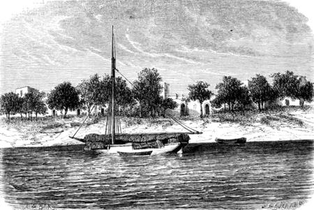 ポドル、ヴィンテージには、図が刻まれています。ル ツアー デュ モンド、トラベル ジャーナル、(1872 年)。