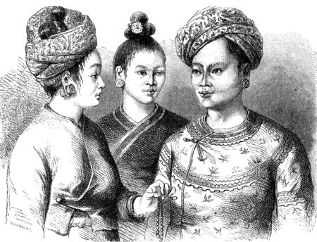 Ehefrauen: K�nig Muong Sie mit seinen beiden Frauen, Jahrgang gravierte Darstellung. Le Tour du Monde, Reisetagebuch, (1872). Lizenzfreie Bilder