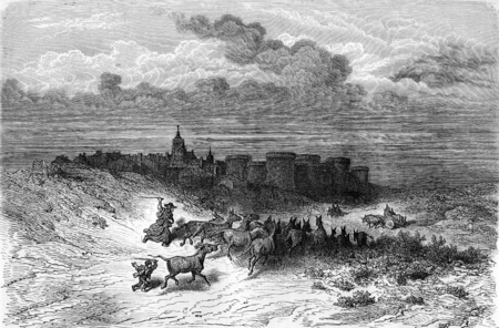 Grajal, near Sahagun (Leon province), vintage engraved illustration. Le Tour du Monde, Travel Journal, (1872). illustration