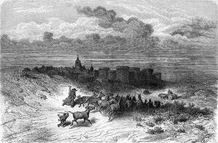 leon: Grajal, near Sahagun (Leon province), vintage engraved illustration. Le Tour du Monde, Travel Journal, (1872).