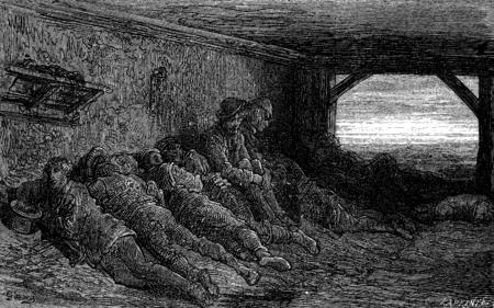 In the inn at Grajal, vintage engraved illustration. Le Tour du Monde, Travel Journal, (1872).