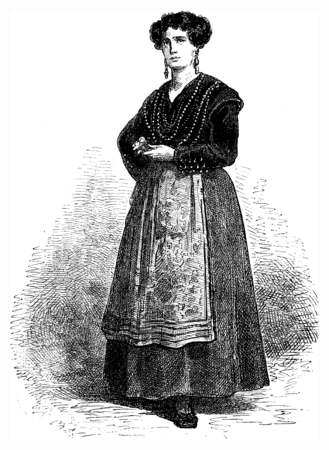 galician: Gallega (Galician) in festive costume, vintage engraved illustration. Le Tour du Monde, Travel Journal, (1872).