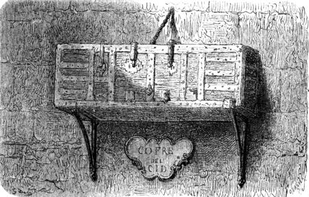 case history: El cofre del Cid (Burgos Cathedral). vintage engraved illustration. Le Tour du Monde, Travel Journal, (1872).