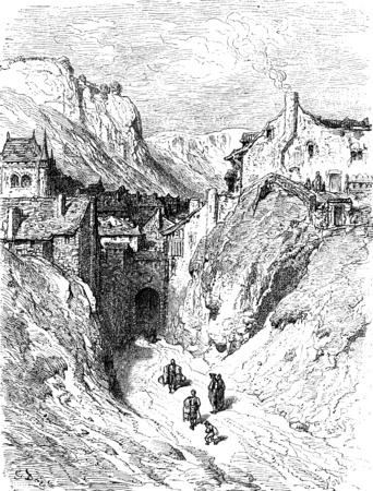 suburb: The suburb of Moreria, Calatayud (Aragon), vintage engraved illustration. Le Tour du Monde, Travel Journal, (1872).
