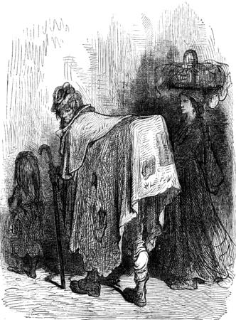 A buhonero (Hawker) Aragonese, vintage engraved illustration. Le Tour du Monde, Travel Journal, (1872).